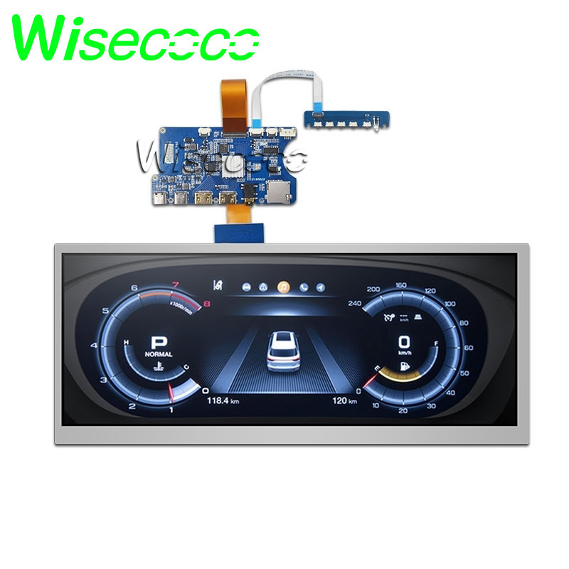 Wisecoco 12.3 Inch Stretched Bar LCD Panel HSD123KPW1-A30 1920*720 High Brightness 1000 Nits Hdmi Driver Board For Car Display