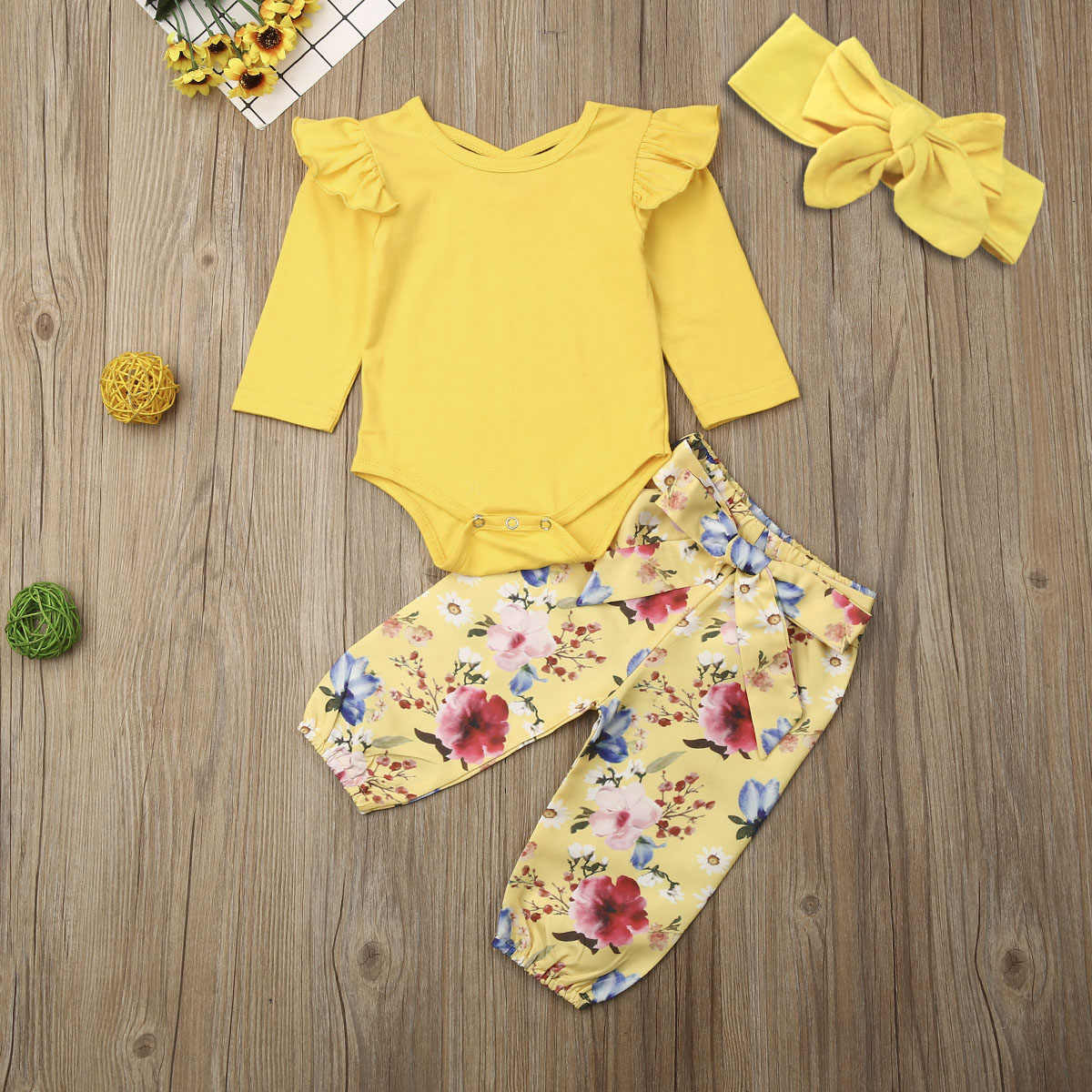 Pudcoco Newborn Baby Girl Clothes Solid Color Fly Sleeve Cotton Romper Tops Flower Print Long Pants Headband 3Pcs Outfits Set