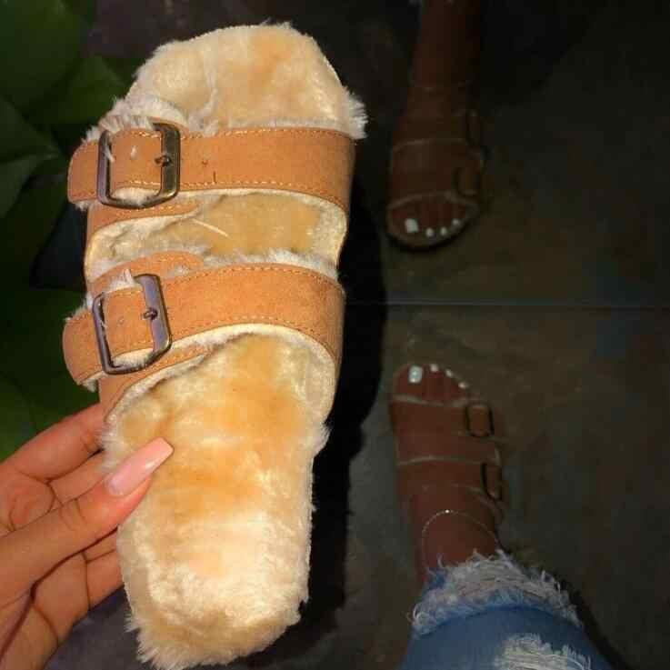 Di Modo Selvaggio Inverno Casa Calda Del Leopardo Dei Capelli Della Pelliccia Pantofole Sandali 2019 Nuovi Pattini Delle Donne di Modo Universale Pantofole