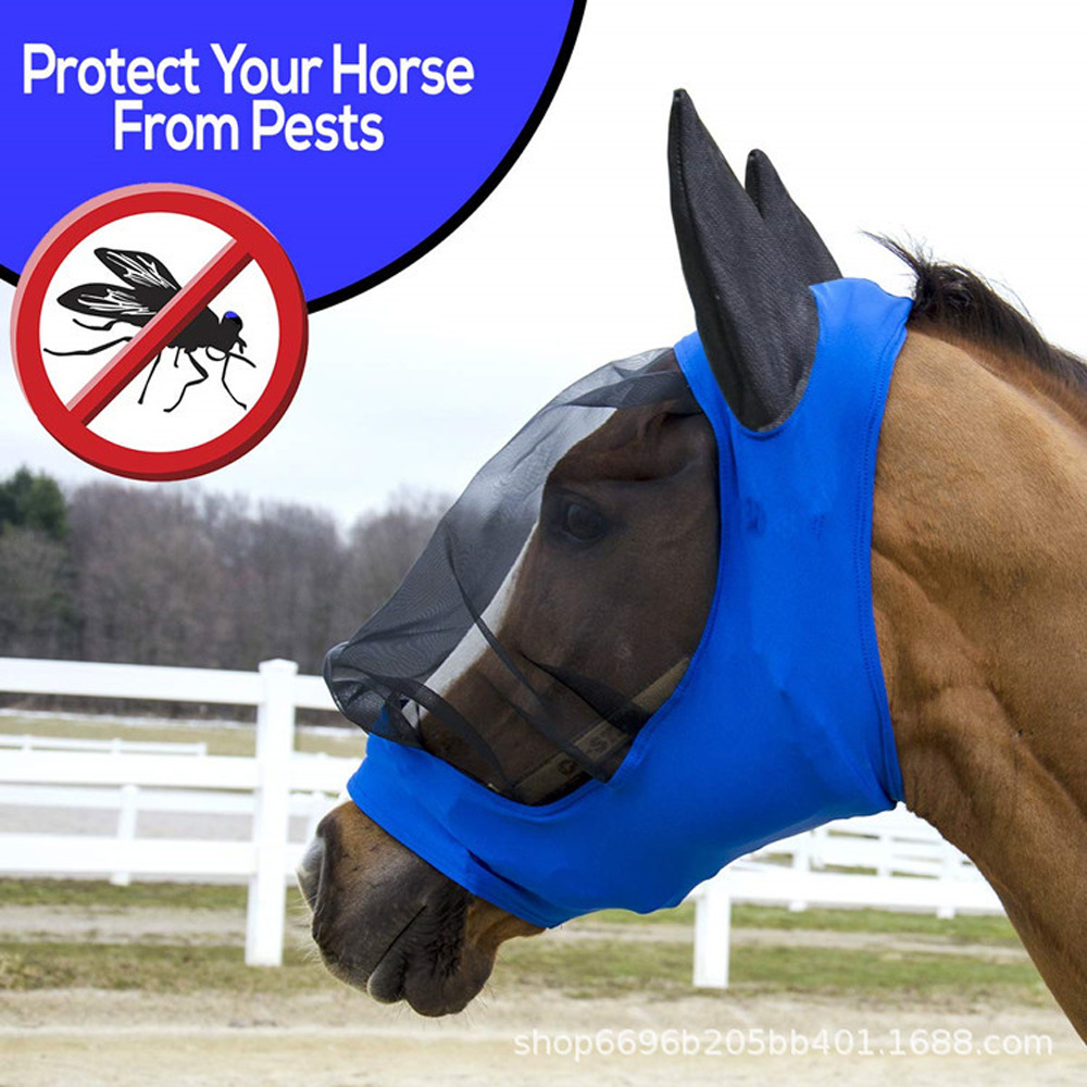 Horse Fly Mask Ear Cover Full Face Armour Mesh Pet Supplies Anti UV Horse Protector Shield Summer Breathable Anti-mosquito
