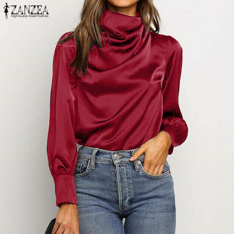 S 5XL 2020 Spring Solid Folds Blouse ZANZEA Fashion Satin Shirt Women Casual Turtleneck Long Sleeve Tunic Tops Female Blusas