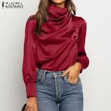 S 5XL 2021 bahar düz kat bluz ZANZEA moda saten gömlek kadınlar Casual balıkçı yaka uzun kollu tunik üstleri kadın Blusas