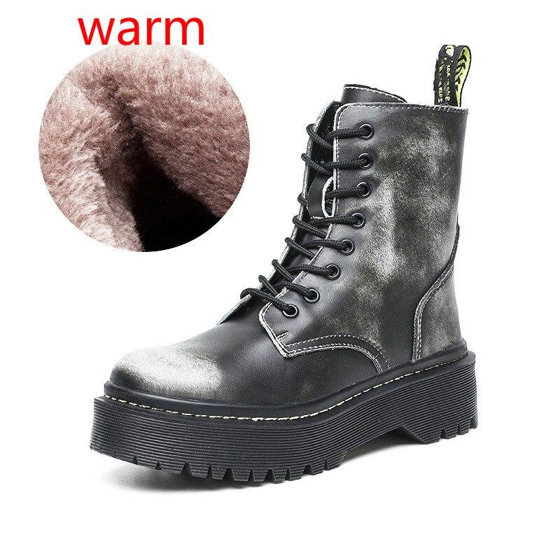 Fashion Zipper Flat Shoes Woman High Heel Platform Genuine Leather Boots Warm Fur Women Shoes White Military Botas Mujer Girls