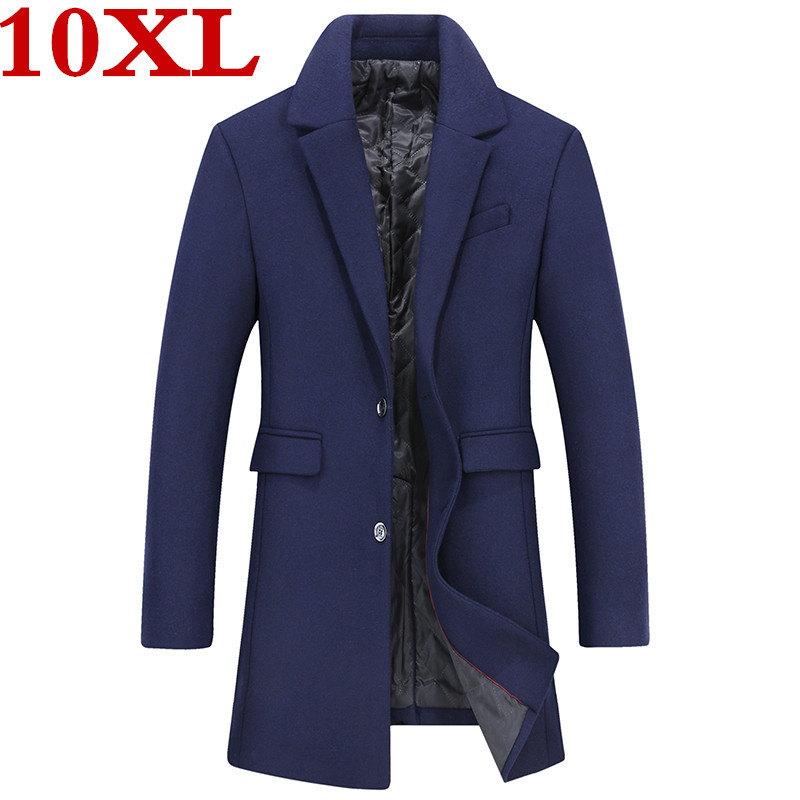 Plus Size 10XL 9XL 8XL 7XL 6XL Casual Woolen Coat Men's Wool Coats & Jackets Winter Cashmere Jacket Man Long Section Overcoat