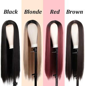 Image 3 - AISI HAIR Long Straight Black Wig Synthetic Wigs for Women Natural Middle Part Lace Wig Heat Resistant Fiber Natural Looking Wig