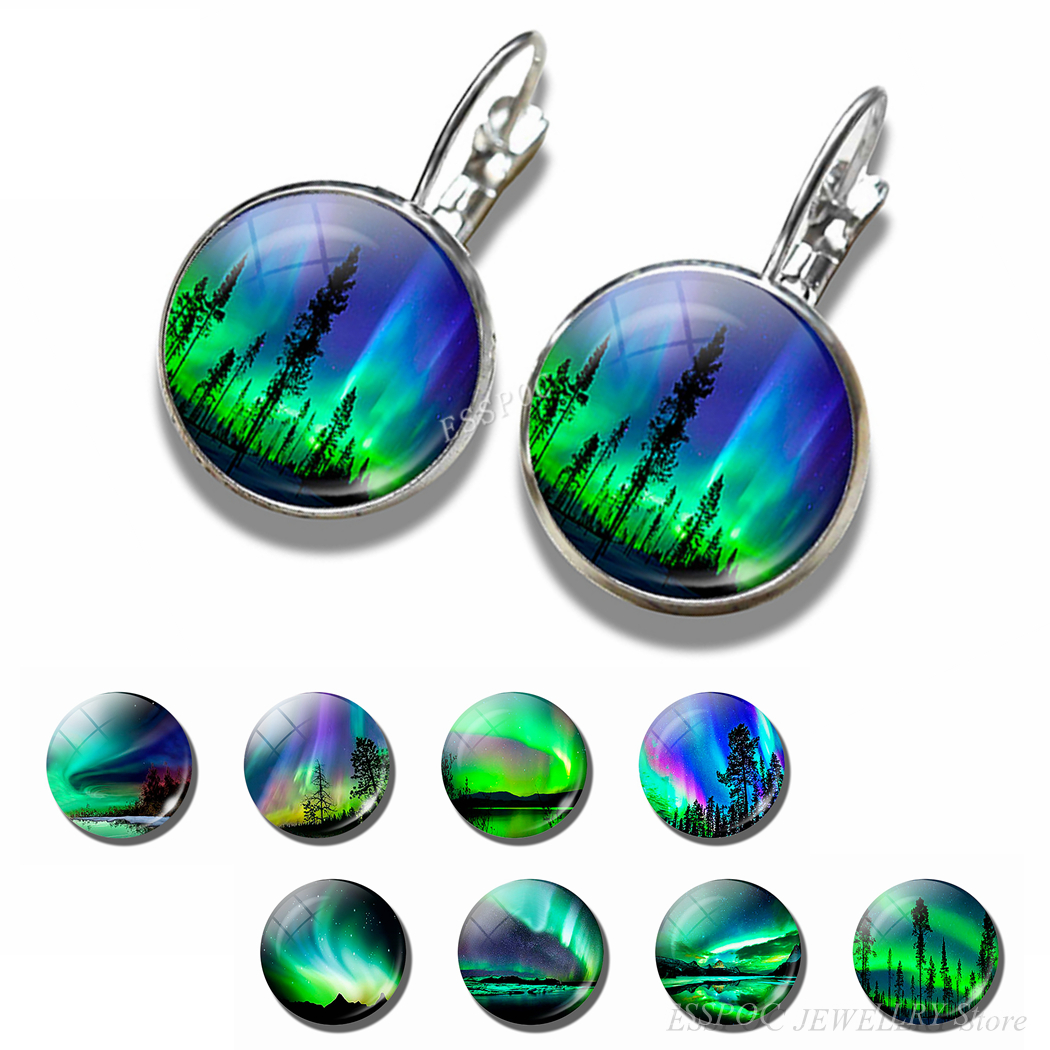 Northern Lights Earring Fashion France Stud Earrings Round 16MM Glass Cabochon Jewelry Silver Delicate Ear Hook Women Lover Gift