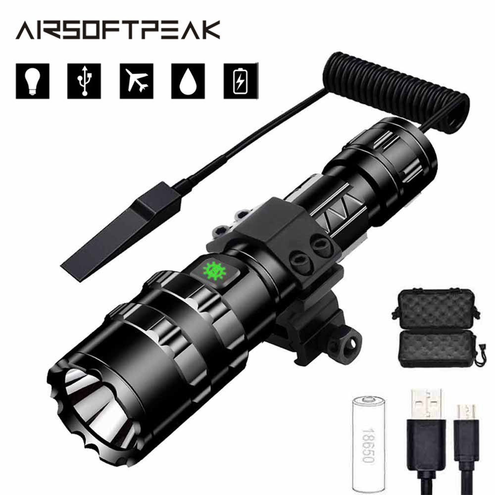 Tactical For Gun Scope Air XML Mount Flashlight Hunting Torch 8000LM Rifle Lamp