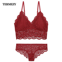 TERMEZY Sexy Lace Bra Sets lingerie Women Seamless Embroidery Bralette and Panty Set Wireless Breathable Underwear Intimates