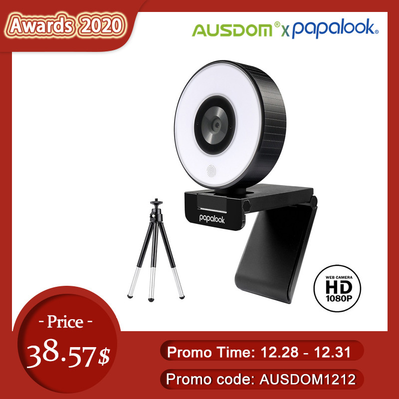 [Original]AUSDOM PA552 Webcam HD 1080P Fixed Focus USB Web Camera with Microphone Light Tripod for PC Twitch Skype OBS Steam 1