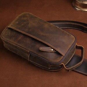 Image 5 - GO szczęście marki szalony koń prawdziwej skóry na co dzień torba typu Sling na klatkę piersiową mężczyzn torba na ramię Crossbody męska skóra bydlęca Messenger torby