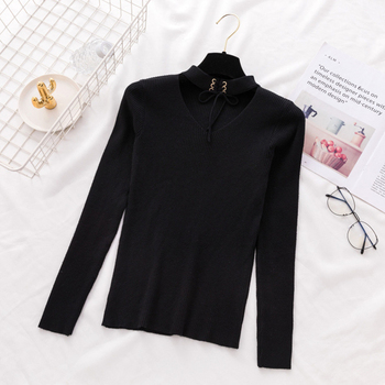 Ailegogo New Sexy Women V Hanging Neck Sweater Casual Female Solid Slim Fit Knitwear Tops Hollow Out Ladies Knitted Outwear 5