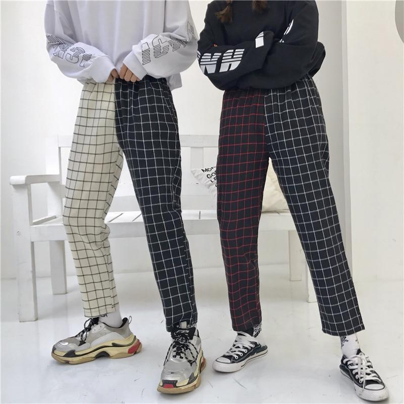 INS Super Fire Ulzzang Harajuku Retro Slim Fit Versatile Joint Plaid Capri Pants Men And Women