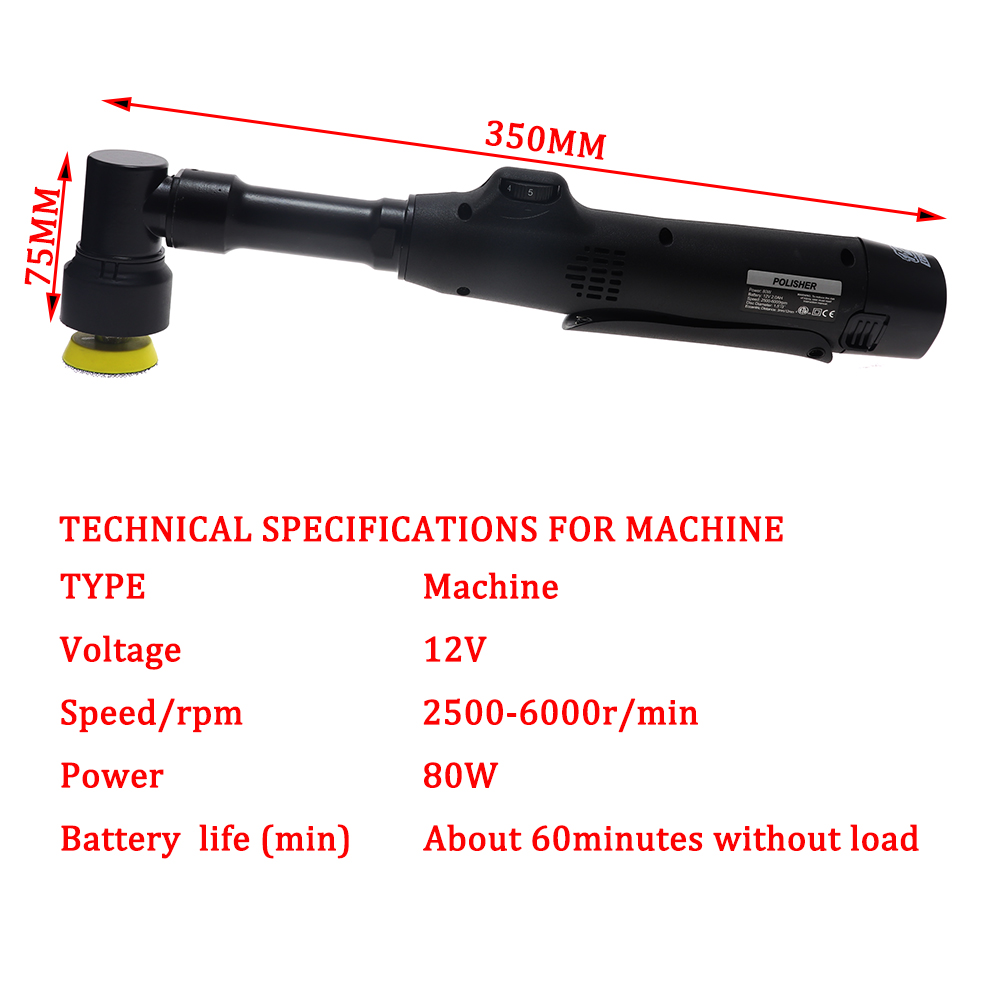 home improvement : 12V Micro Grinding Wireless Rotating Mini Double Action Car Polisher RO DA for polishing fine grinding and cleaning