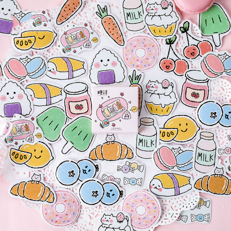 Mohamm Snack Pocket Series Kawaii Cute Sticker Custom Stickers Diary Stationery 45 Pcs