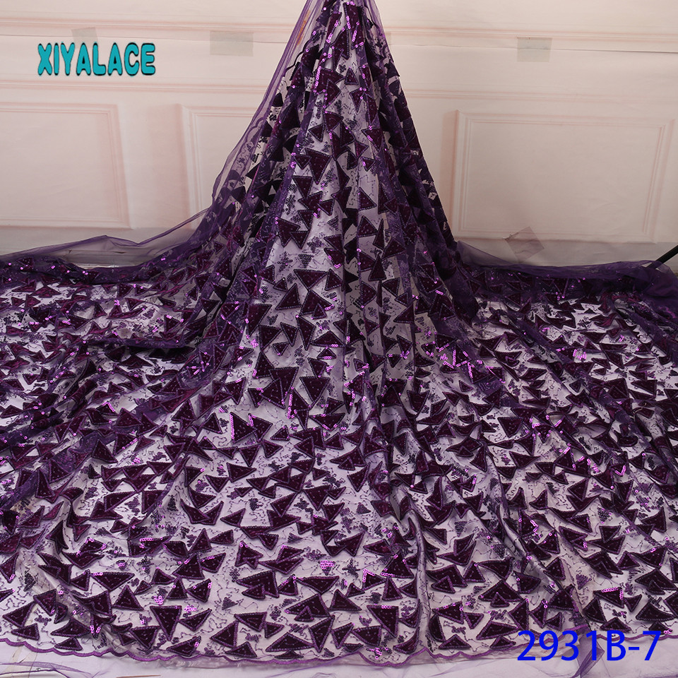 High Quality Sequins Organza Lace Fabric African Lace Fabric 2019 French Lace Fabrics For Party Dress YA2931B7