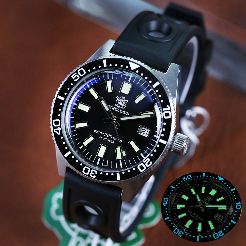 STEELDIVE 1962 Dive Watch Automatic Mechanical Watches 316L Steel Dive Watch NH35 Sapphire C3 Luminous Diver Watches For Men