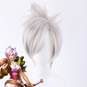LOL Riven The blade of exile Cosplay wig Silver White Short Synthetic hair League of Legends Costume Wig With Chip Ponytail цена 2017