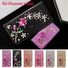 Girls Fashion Bling Leather Flip Stand Wallet Diamond Rose Flower Case for Huawei P20 P30 P40 Y7 Y9 Mate 10 20 Pro Honor 10 Lite