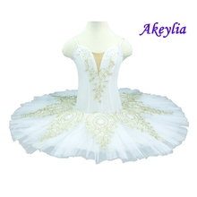 Child Professional Ballet Tutu White Gold Sleeping Beauty Performance Pancake tutus Classical Ballet Skirt Ballet Stage Costume