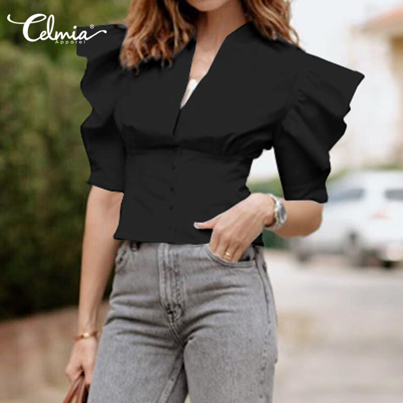 Fashion Ruffles Sleeve Blouse Women Summer Tunic Tops Celmia 2020 New Sexy V-neck Office Ladies Shirts Buttons Plus Size Blusas