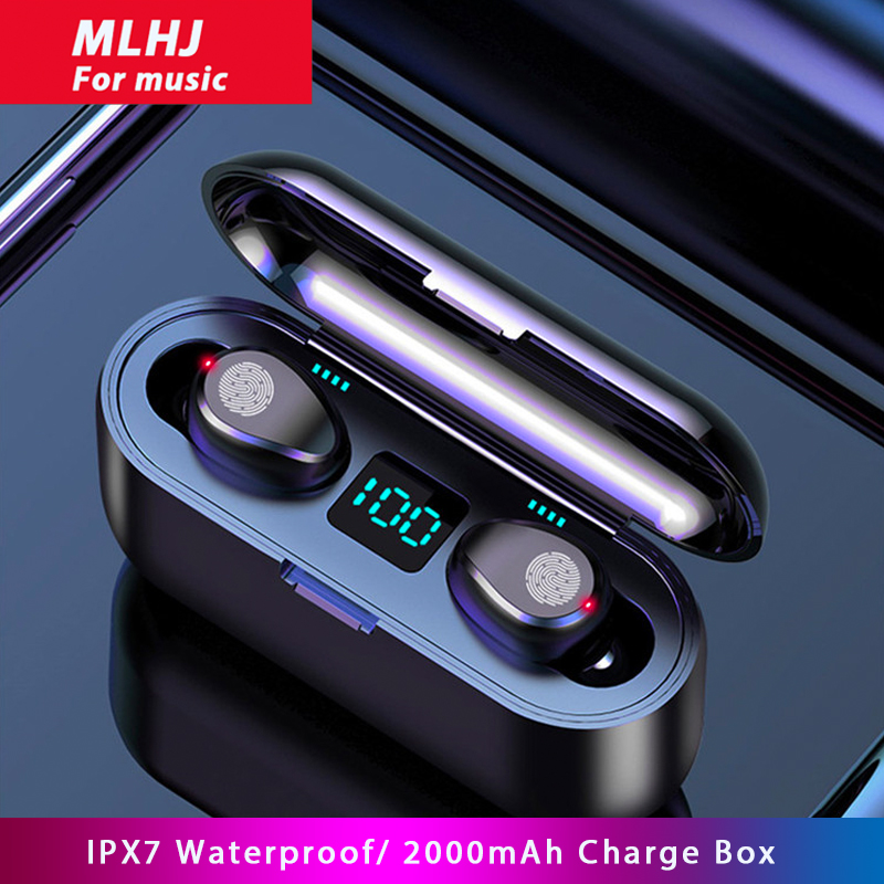 MLHJ F9 Wireless Headphones Bluetooth 5.0 Earphone TWS HIFI Mini In-ear Sports Running Headset Support iOS Android Phone HD Call 1