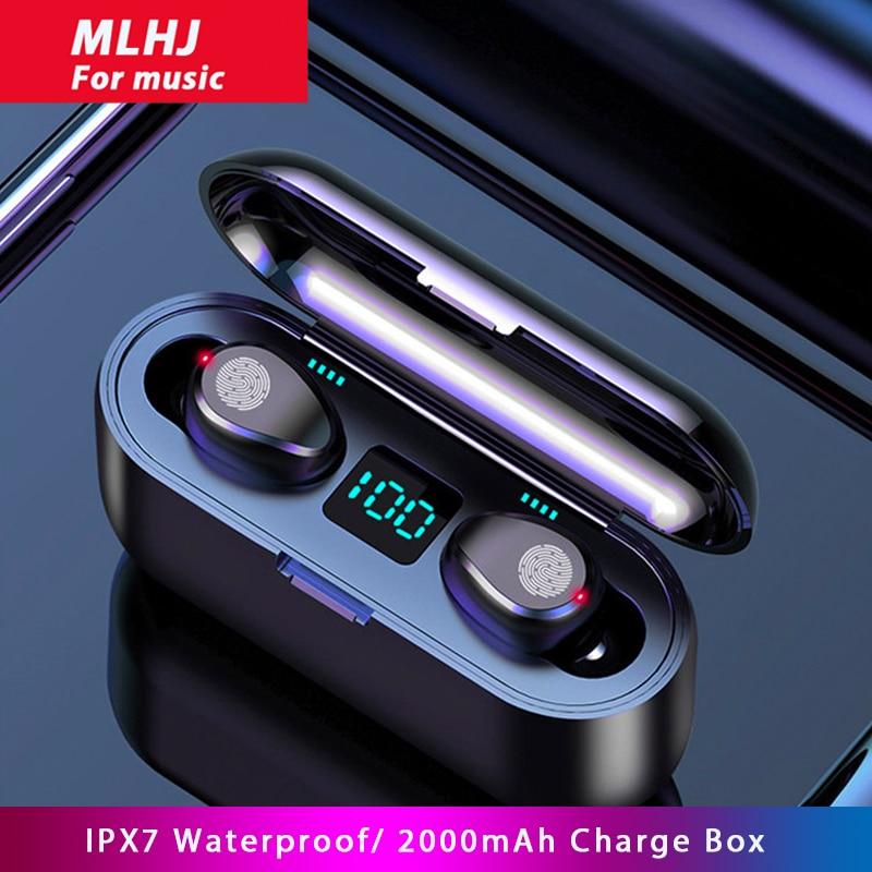 MLHJ F9 Wireless Headphones Bluetooth 5.0 Earphone TWS HIFI Mini In-ear Sports Running Headset Support iOS Android Phone HD Call 1