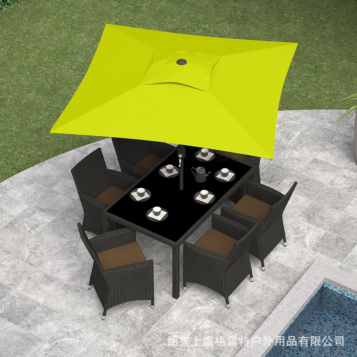 Europe And America Quality Windproof 2 M Garden Umbrella Square Patio Umbrella Square Outdoor Umbrella Parasol Super Durable
