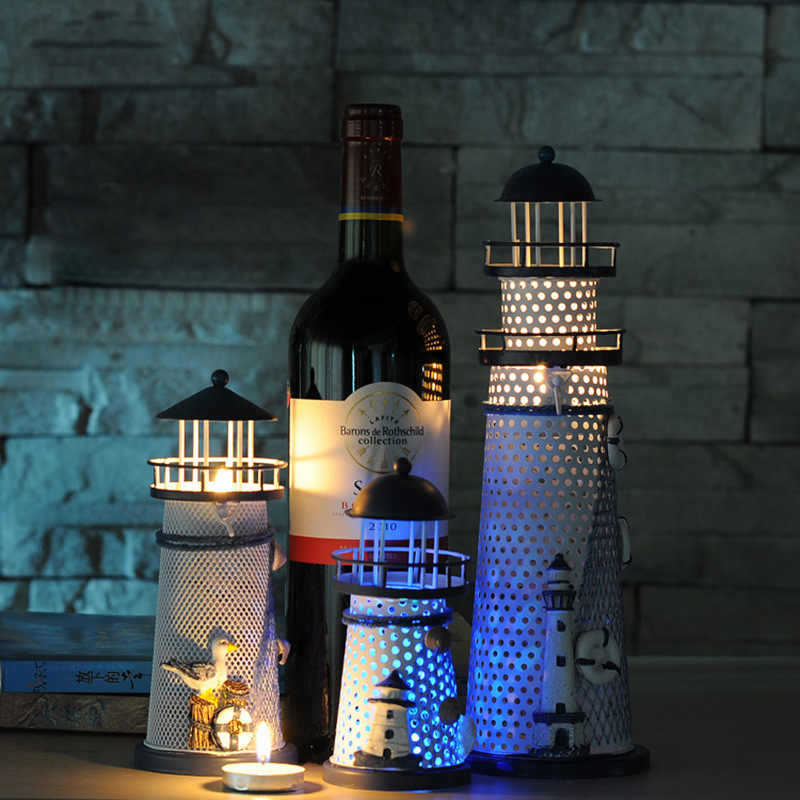 Novelty Mediterranean Style LED Night Light Lighthouse Candlestick Home Decorations Christmas Lights Birthday Gifts Lamp