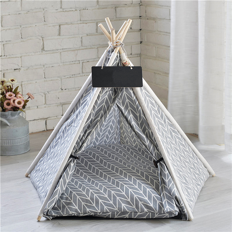 teepee bed for small dogs gray