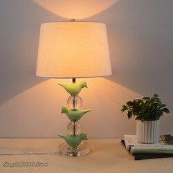 Vintage Crystal zielony ptak lampy stołowe krajem ameryki lampy stołowe lampki nocne sypialnia oświetlenie do salonu idylliczne dekoracje