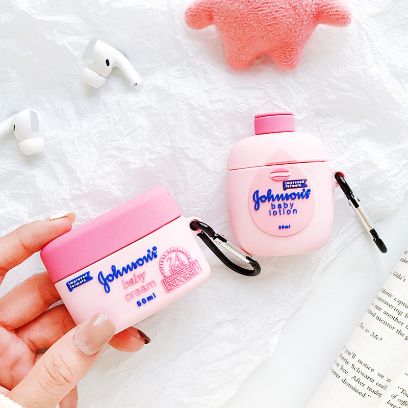 Cute 3D Brand Johnson Baby Cream Lotion Body Lotion Silicone Bluetooth Wireless Earphone Case For Apple AirPods Pro 1/2/3 Cover