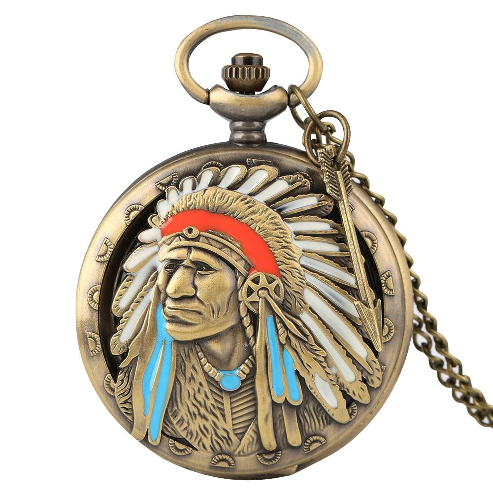 Antique Ancient Indian Quartz Pocket Watch Men Clock Old Man Pendant Watches Alloy Slim Chain Necklace Reloj De Bolsillo Hombre