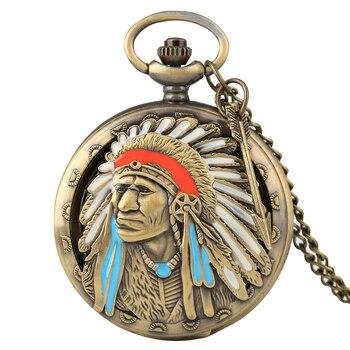 Antique Old Pocket Watch Ancient Indian Men Clock Man Pendant Watches Alloy Slim Chain Necklace Reloj De Bolsillo Hombre