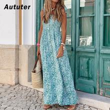 2020 Boho Frauen Lange Kleid Sleeveless Backless Floral Chiffon Maxi Sommer Kleid Strand Abend Party Kleider Sexy Sommerkleid # A3(China)