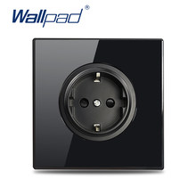 Wallpad UE Francés Reino Unido Universal nos toma USB de pared cargador TV CAT6 satélite HDMI Salida de vidrio negro esquina redonda L6 de