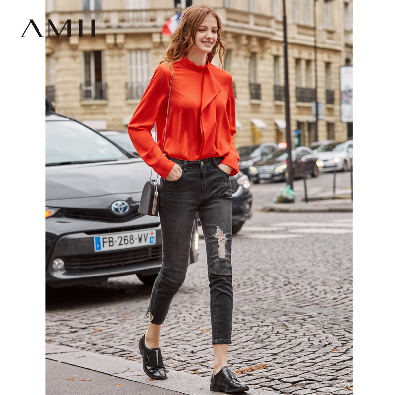 Amii Autumn Women Elegant Chiffon Blouses Office Lady Fashion Solid Long Sleeve Ruffles Stand Collar Shirts Tops11920029