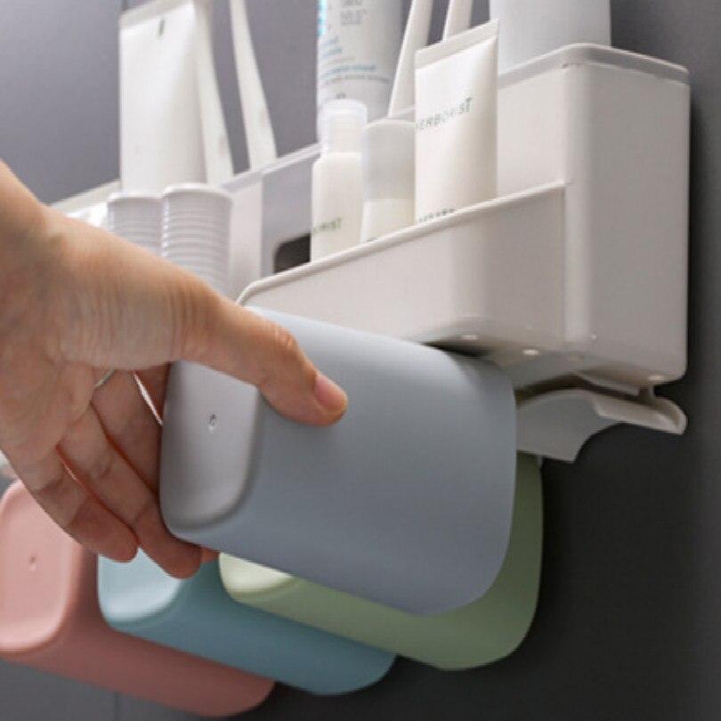 bathroom storage tooth brush holder toothbrush holder toothpaste dispenser bathroom accessories set dispensador de pasta dental in Bathroom Accessories Sets from Home Garden
