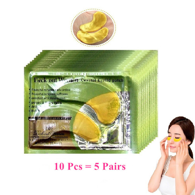 10Pcs=5Pairs Gold Crystal Collagen Eye Mask Patches For Eye Anti-Aging Acne Korean Cosmetics Skin Care
