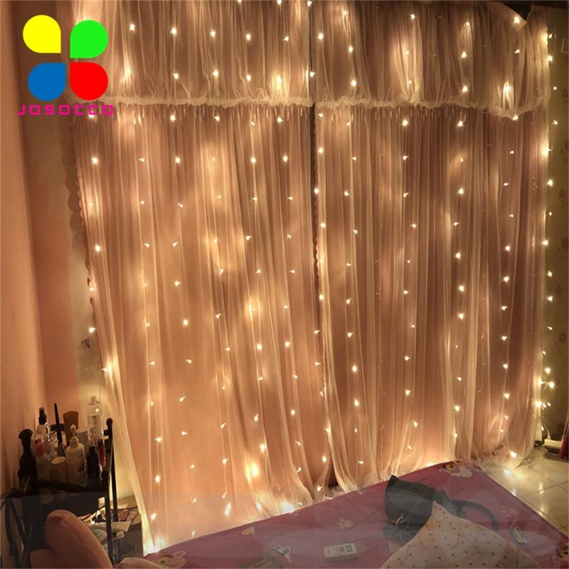 JOSOCCO 1.5X1.5M 3X3M 2x2M Christmas Curtain Lights Garlands LED String Christmas Net Lights Fairy Xmas Wedding Decoration