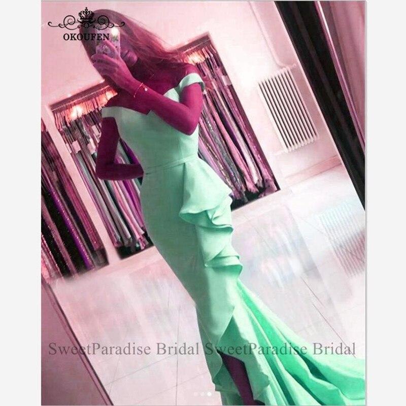 Mint Green Bridesmaid Dresses Off Shoulder Long Ruffles Mermaid Side Split Vestido Madrinha Wedding Guest Dress Junior For Women