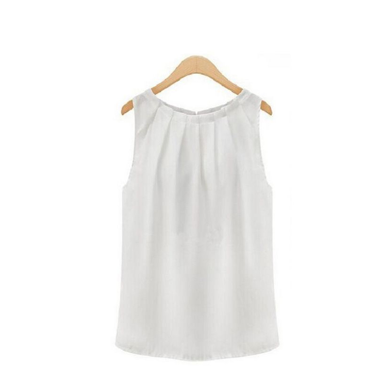 Summer Blouse Elegent Women Solid Color Chiffon Shirts Casual Sleeveless O-neck Loose Pullover Blouse Tops Clothing 4