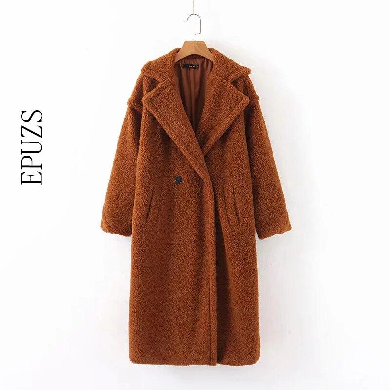 Winter Faux Fur Coats Women Long Coat Long Sleeve Warm Lambwool Jacket Korean Thick Warm Teddy Coat 2019 Winter Fur Jacket