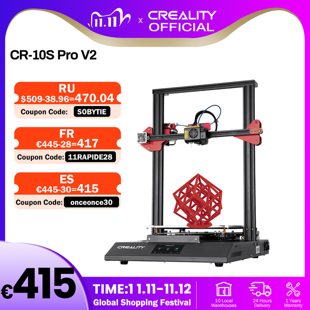 CREALITY 3D Printer CR 10S Pro V2 with BL Touch Auto Level, Touch Screen, with Capricorn PTFE
