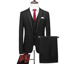 2020 New Arrival rano garnitur garnitury ślubne dla mężczyzn drużba's trzy Peices garnitury (kurtka + spodnie kamizelka) Custom made czarne garnitury