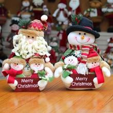 Hot selling flannel Christmas cute decorations snowman deer window supplies home Family portrait Santa Claus Decor