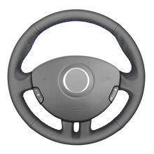 Черный PU искусственная кожа DIY сшитый вручную чехол рулевого колеса автомобиля для Renault Clio 3 2005-2013 Clio 3 RS 2005-2013