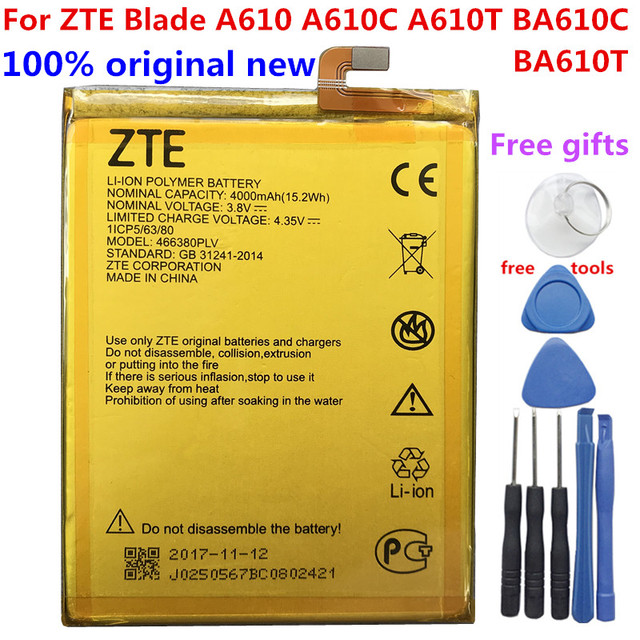 Original 4000mAh 466380PLV Battery For ZTE Blade A610 A610C A610T BA610C BA610T Mobile Phone Batteries New High Quality