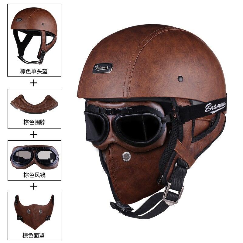 BRAMMO Skull Cap Motorcycle Helmet Vintage Half Face Helmet Motorbike Scooter Retro German Style chopper Cruiser Helmets