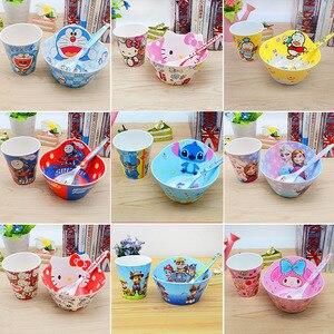 3 шт./компл. Детские Мультяшные меламиновые миски, ложки и чашки, Детские антисломанные продукты для кормления