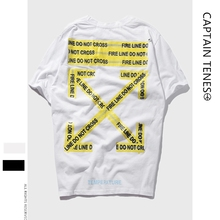 Short Sleeve Yellow Warning Strip Printing Student Lovers Loose Short Sleeve T-shirts цена